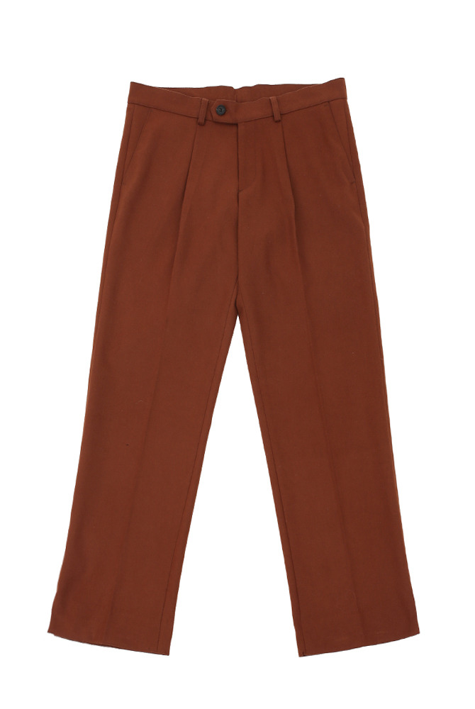 [스크래치상품]UNISEX VENT WOOL WIDE SLACKS BROWN