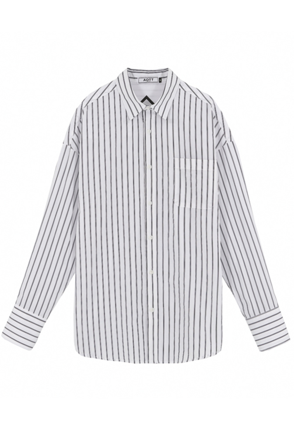 [스크래치상품]UNISEX OVERFIT SLIM STRIPE SHIRTS WHITE