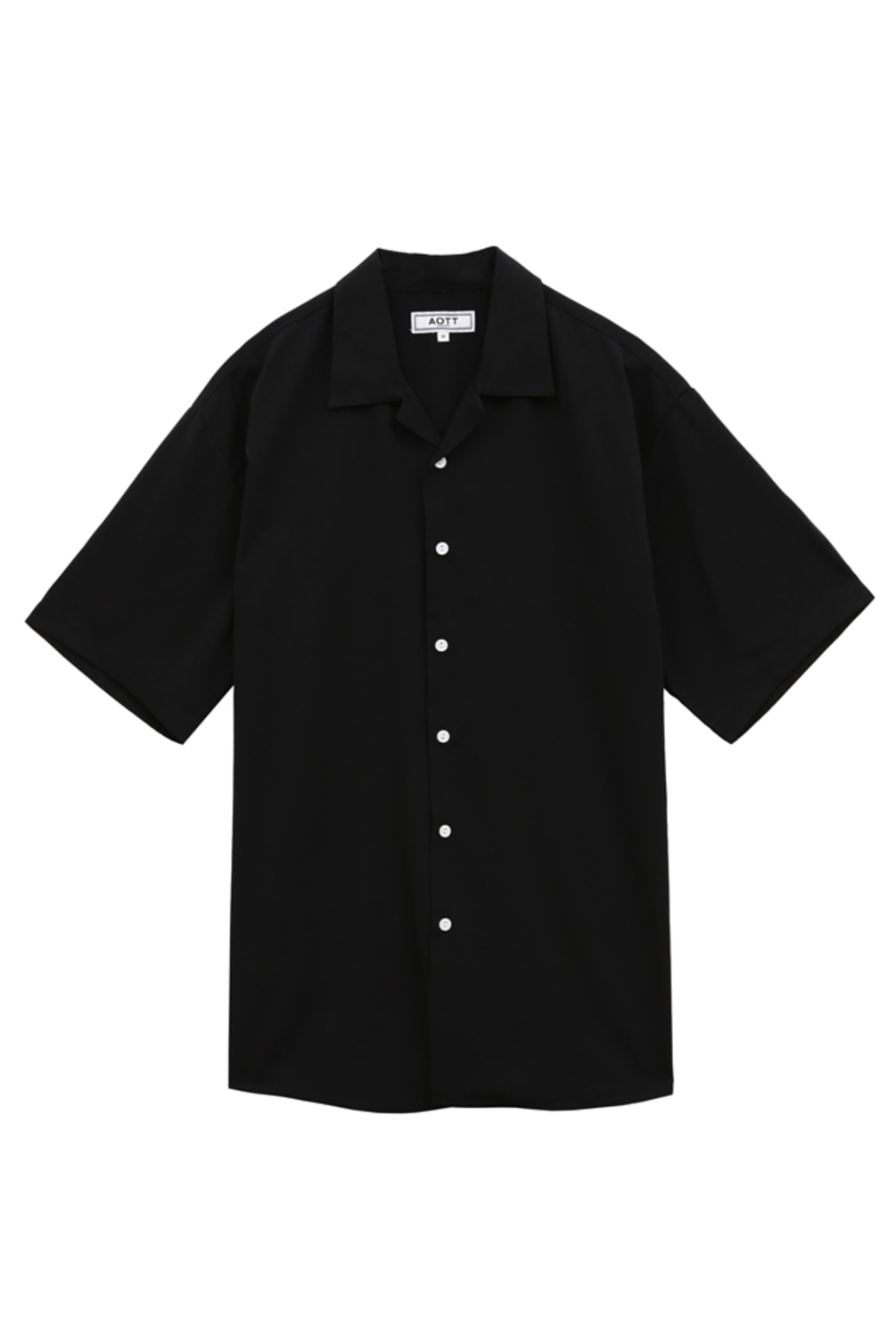 [스크래치상품]UNISEX MINIMAL OPEN COLLAR SHIRTS BLACK