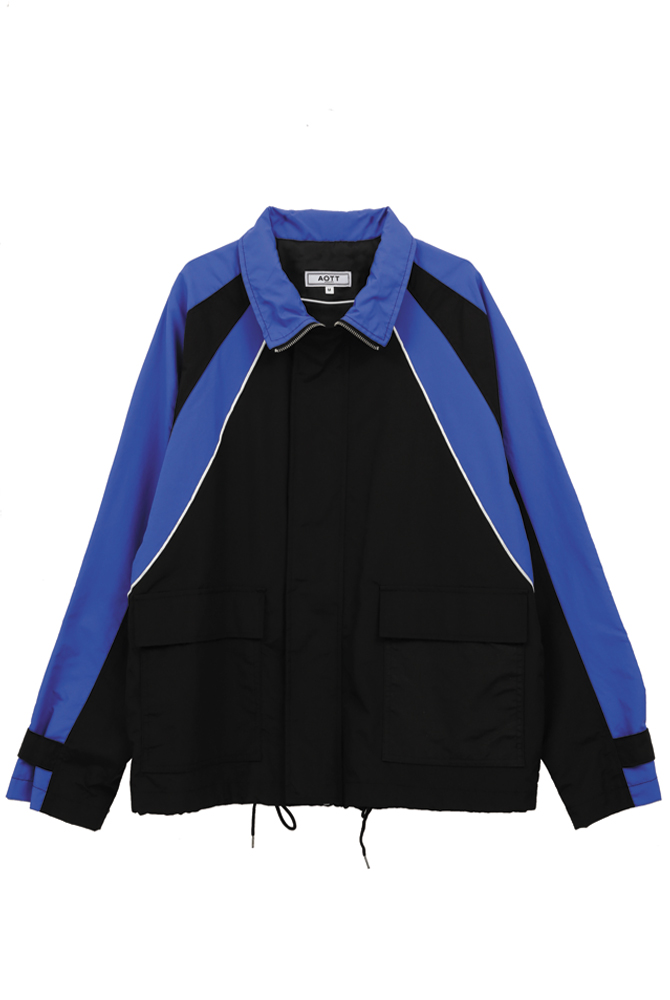 UNISEX COLOR POINT WIND BREAKER BLACK