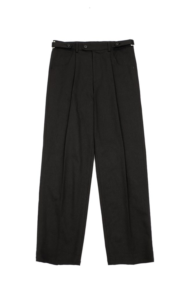 UNISEX BELTED COTTON TROUSER BLACK