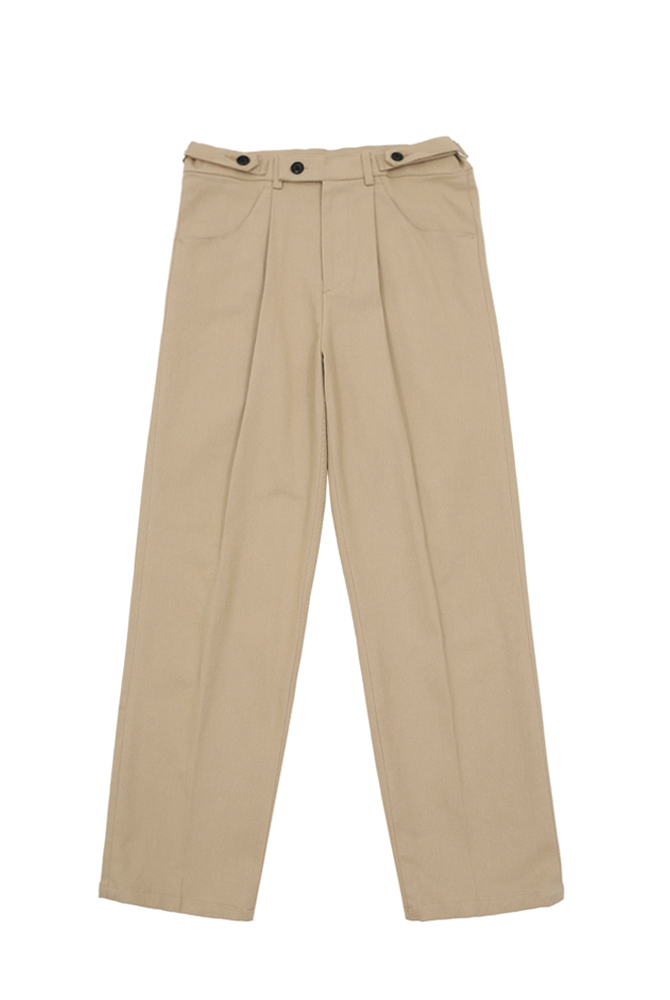 UNISEX BELTED COTTON TROUSER BEIGE