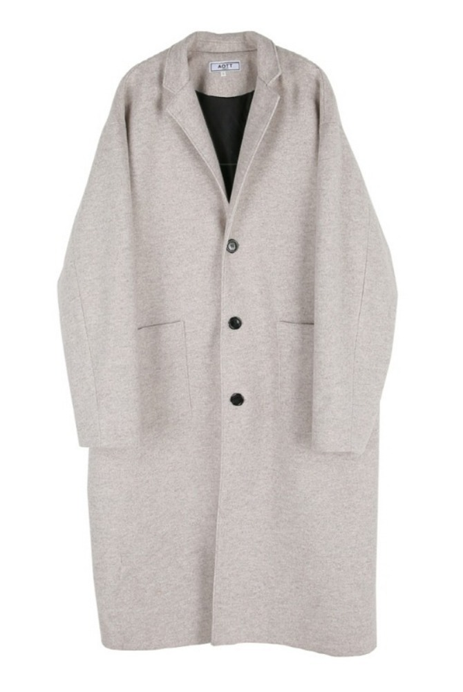 UNISEX WOOL SINGLE LONG COAT IVORY