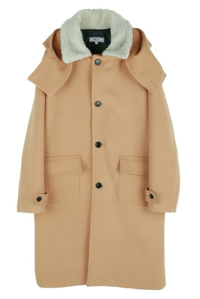 UNISEX DUMBLE COLLAR HOOD COAT BEIGE