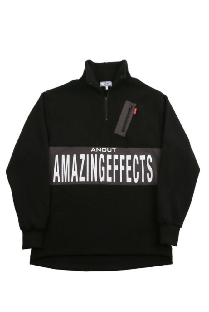 UNISEX EFFECT FLEECE ANORAK BLACK