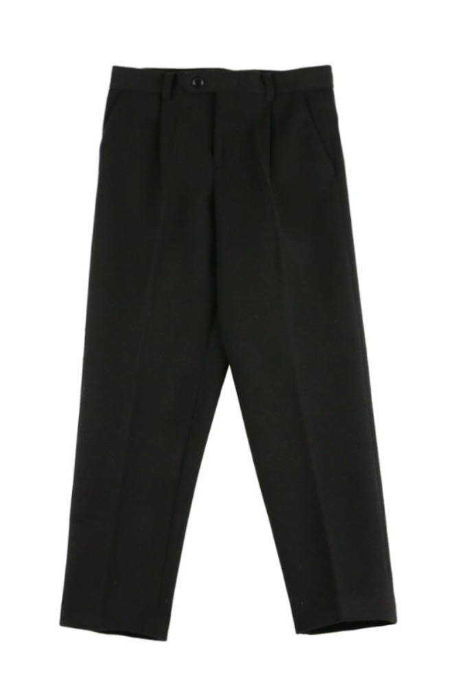 UNISEX WOOL SEMI WIDE SLACKS BLACK