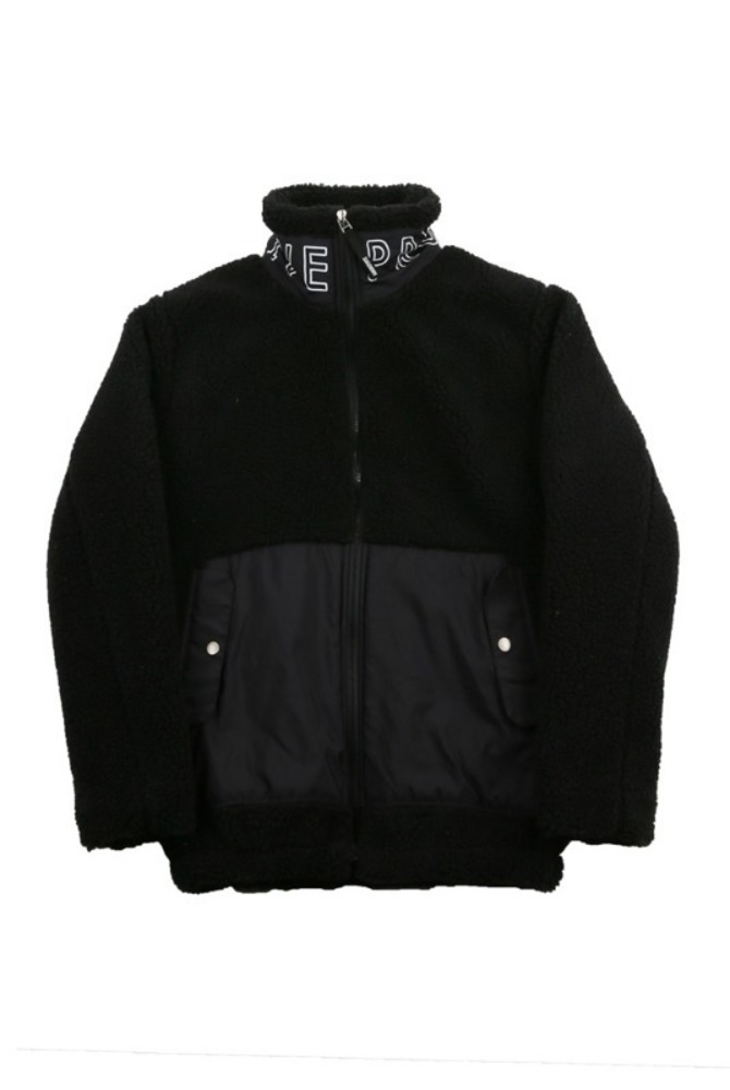 UNISEX DUMBLE NECK PRINTING JACKET BLACK