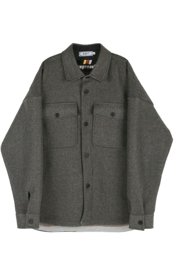UNISEX MINIMAL SHIRTS JACKET GRAY