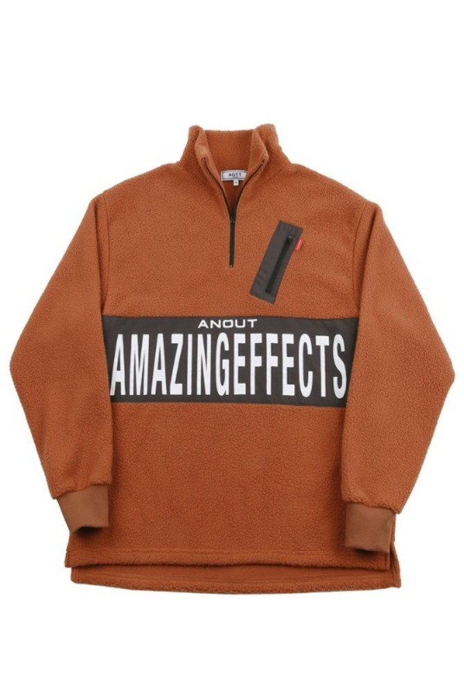 UNISEX EFFECT FLEECE ANORAK BROWN