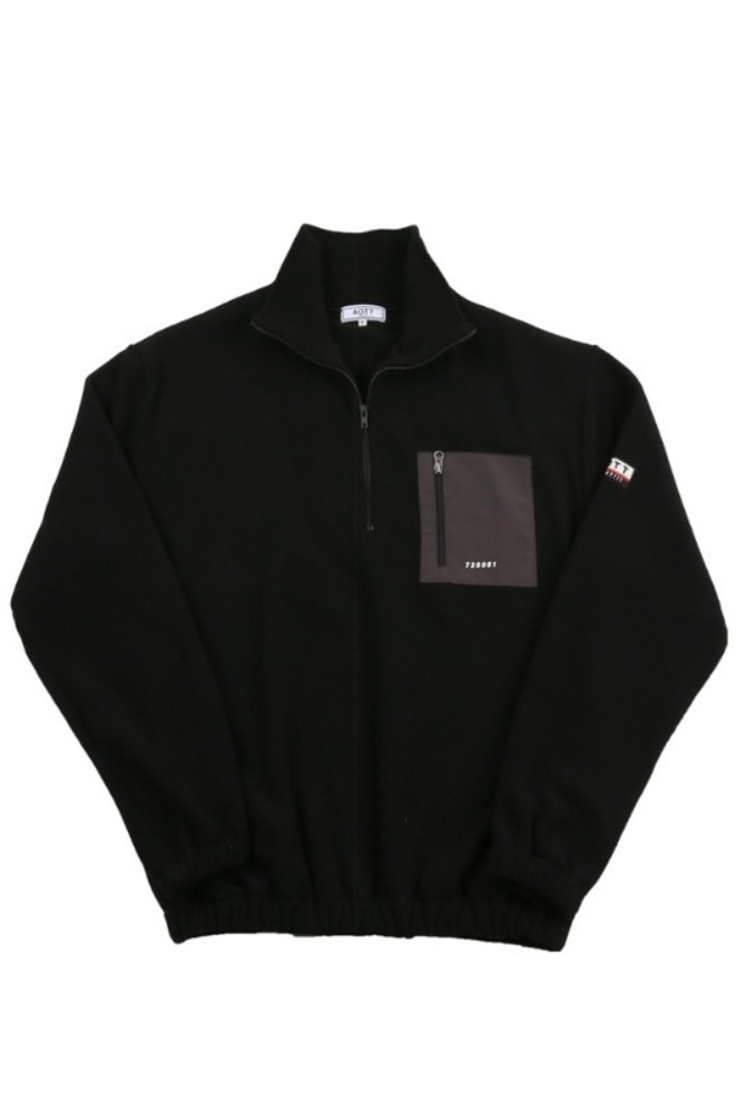 UNISEX FLEECE ZIPPER ANORAK BLACK