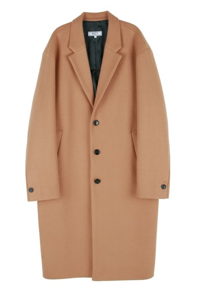 UNISEX MINIMAL WOOL SINGLE COAT BROWN
