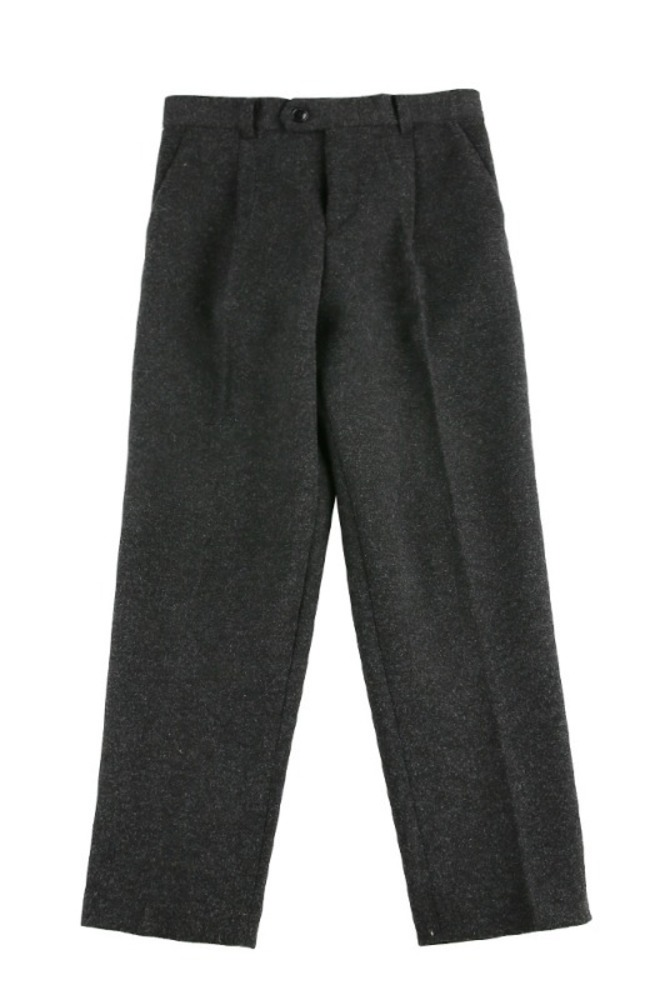 UNISEX WOOL SEMI WIDE SLACKS GRAY