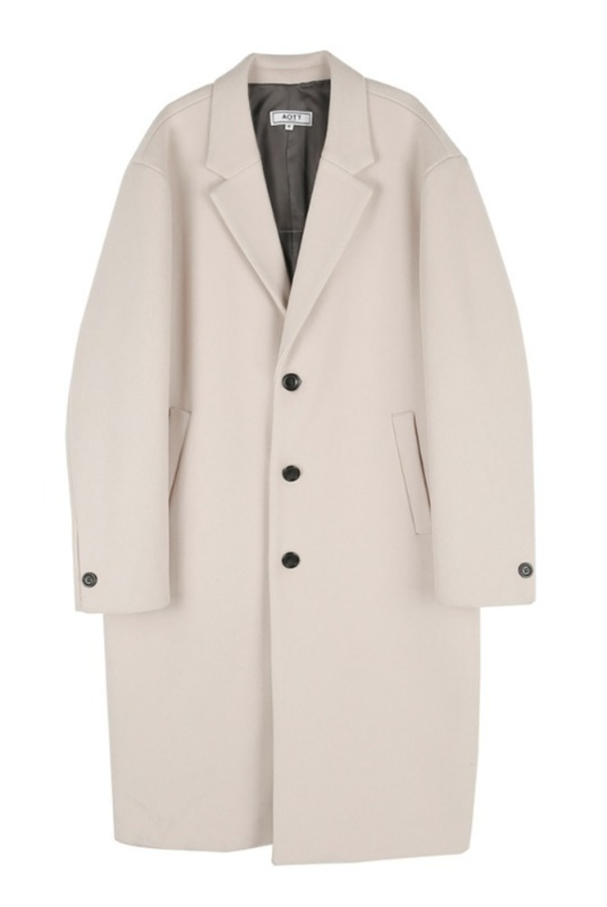 UNISEX MINIMAL WOOL SINGLE COAT BEIGE