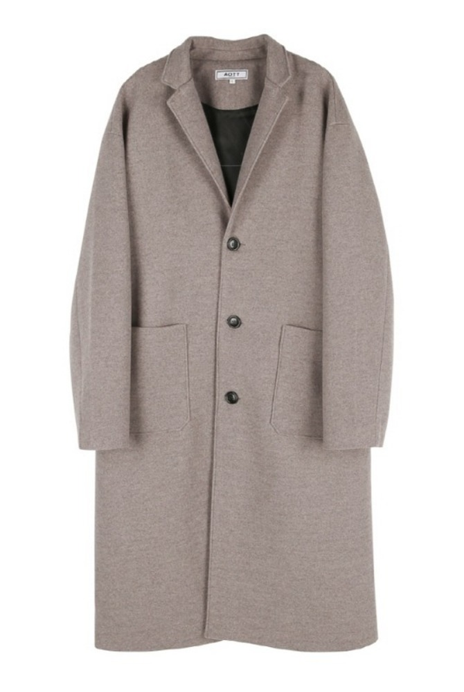 UNISEX WOOL SINGLE LONG COAT BROWN