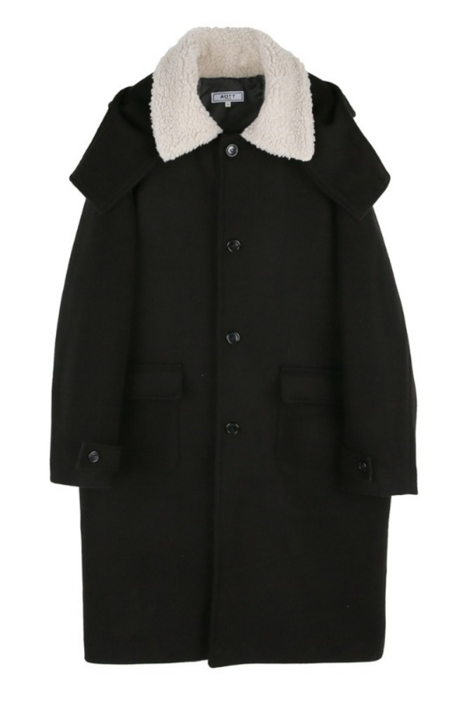 UNISEX DUMBLE COLLAR HOOD COAT BLACK