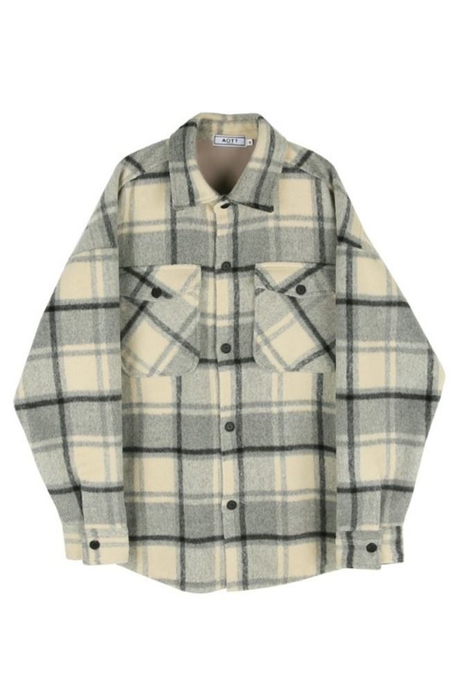 UNISEX WOOL CHECK SHIRTS JACKET BLACK