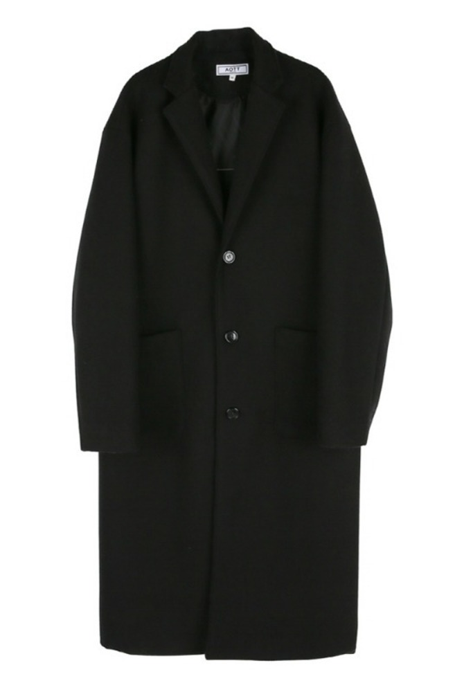UNISEX WOOL SINGLE LONG COAT BLACK