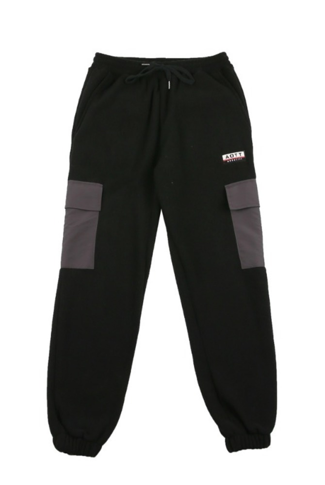 UNISEX FLEECE POCKET PANTS BLACK