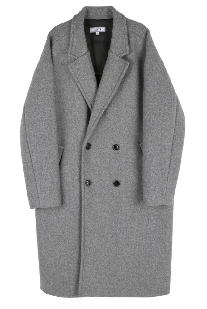 UNISEX MINIMAL WOOL DOUBLE COAT GRAY