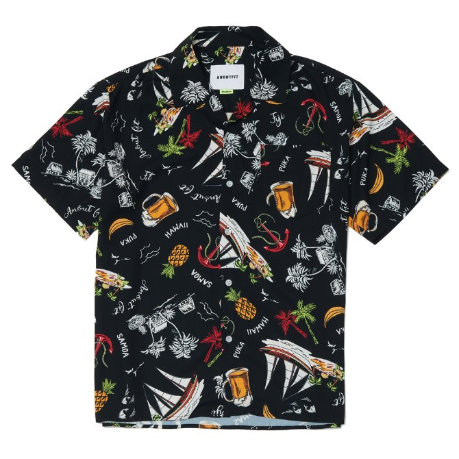 UNISEX PUKA HAWAIIAN SHIRTS BLACK