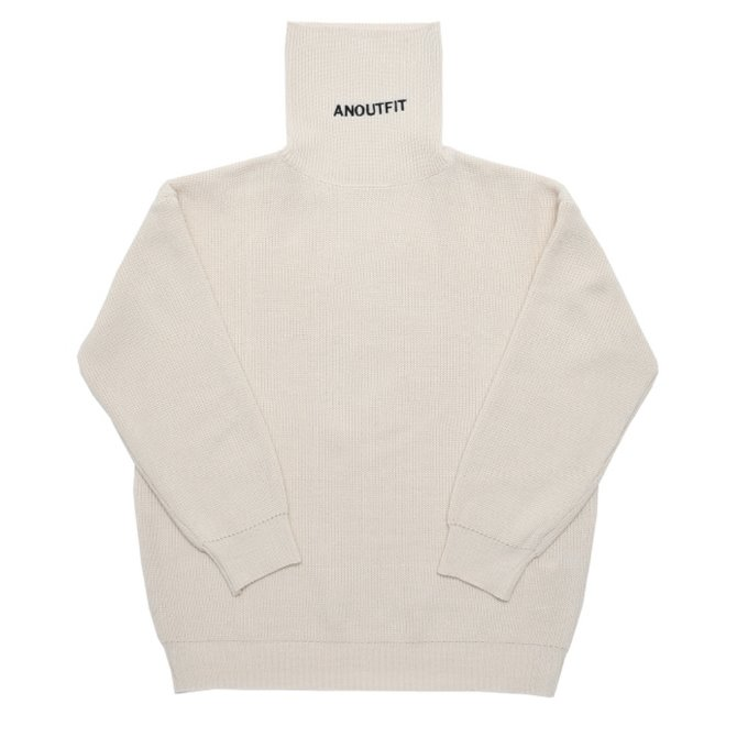 UNISEX OVERFIT KNIT TURTLENECK CREAM