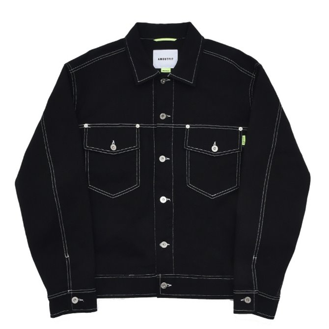 UNISEX STITCH TRUCKER JACKET BLACK