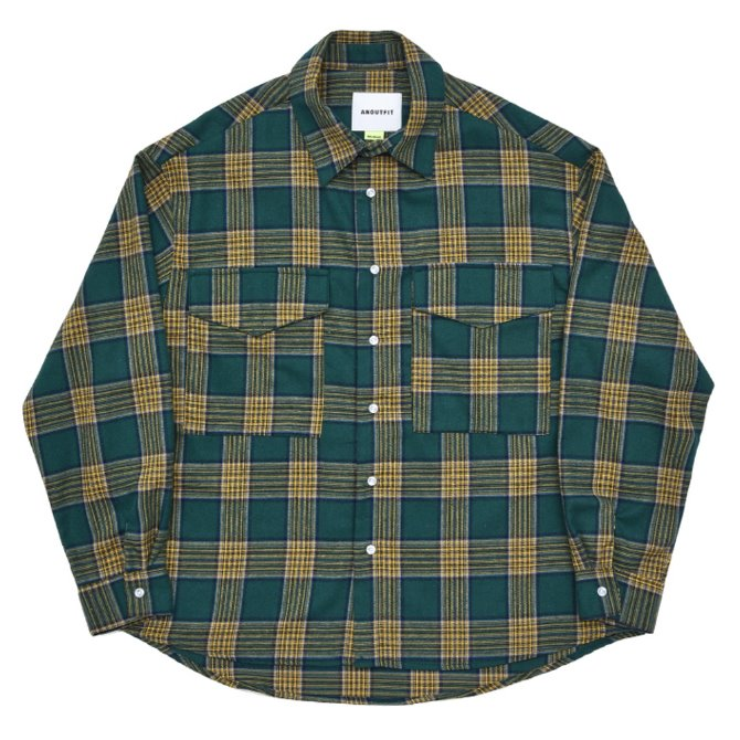 UNISEX OVERFIT CHECK SHIRTS JACKET GREEN