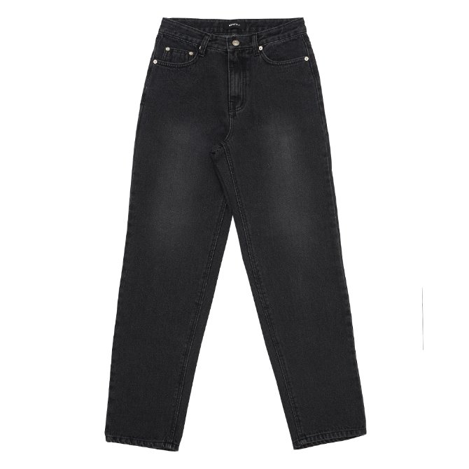 UNISEX WIDE WASHED JEANS BLACK