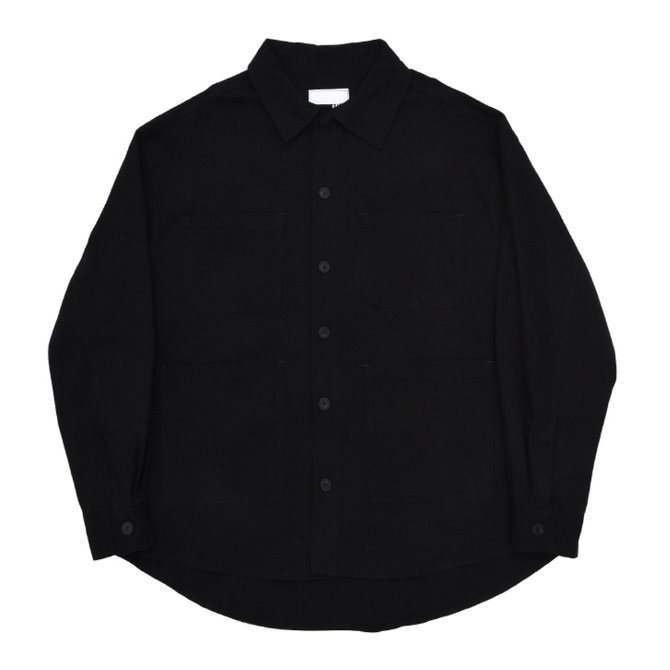UNISEX OVERFIT FIELD SHIRTS JACKET BLACK