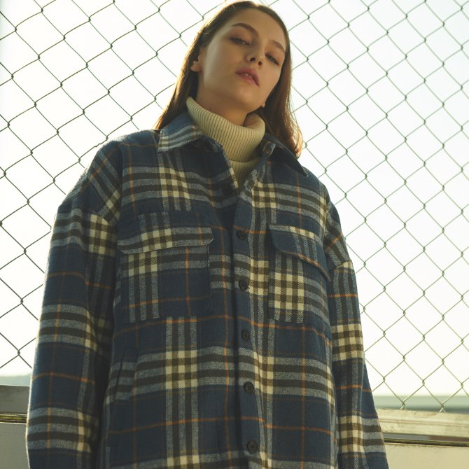 UNISEX OVERFIT FLANNEL CHECK PADDING JACKET BLUE