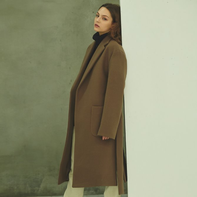 UNISEX OVERFIT SHADOW LOBE COAT BROWN