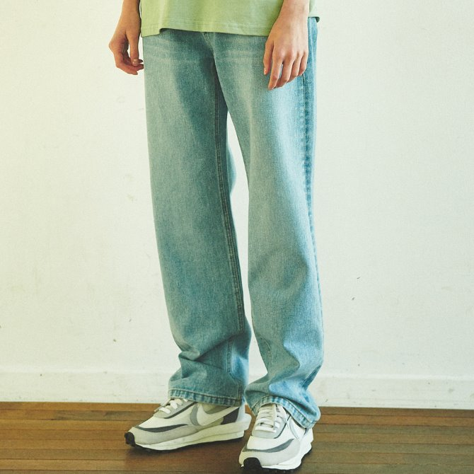 UNISEX WIDE FIT DENIM PANTS SKYBLUE