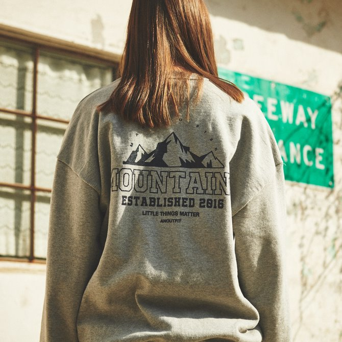 UNISEX MONO MOUNTAINS HEAVY SWEATSHIRT GREY