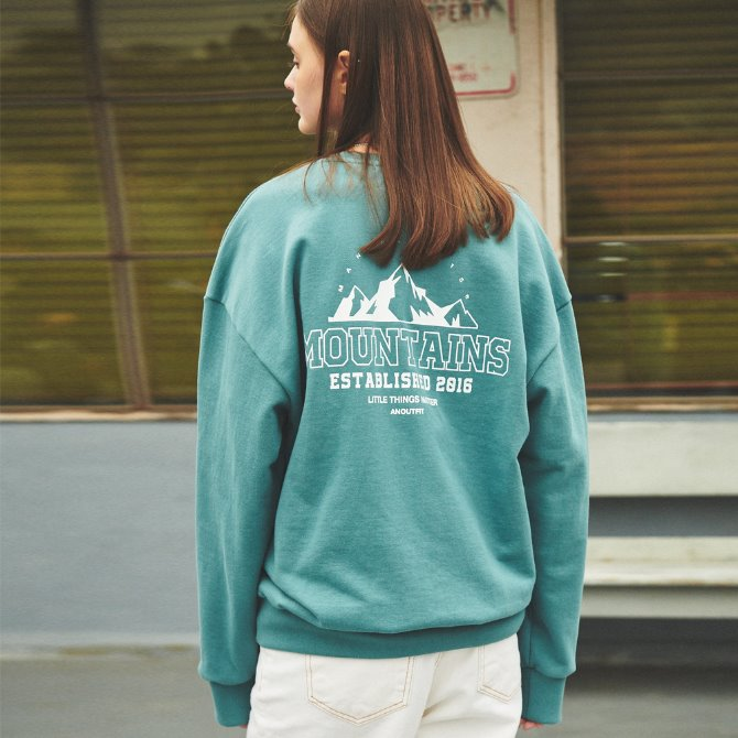 UNISEX MONO MOUNTAINS HEAVY SWEATSHIRT MINT GREEN