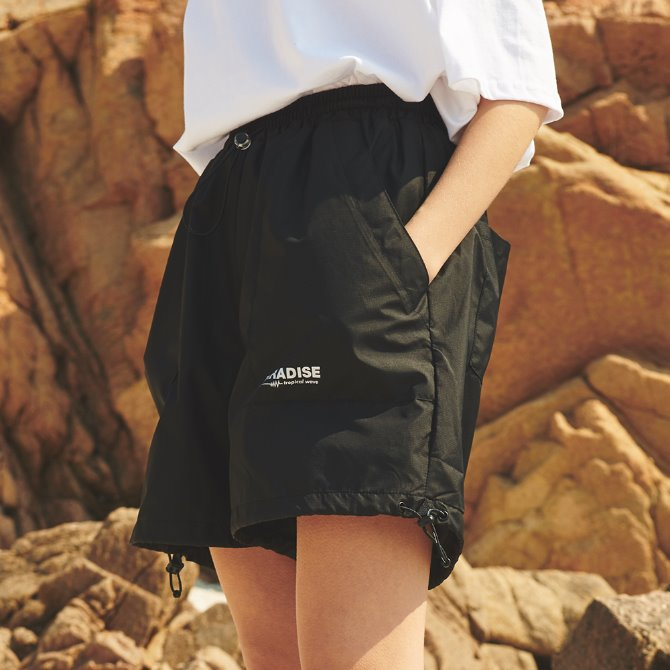 UNISEX RIP STRING SHORT PANTS BLACK