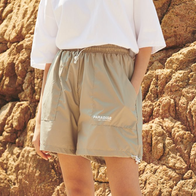 UNISEX RIP STRING SHORT PANTS BEIGE