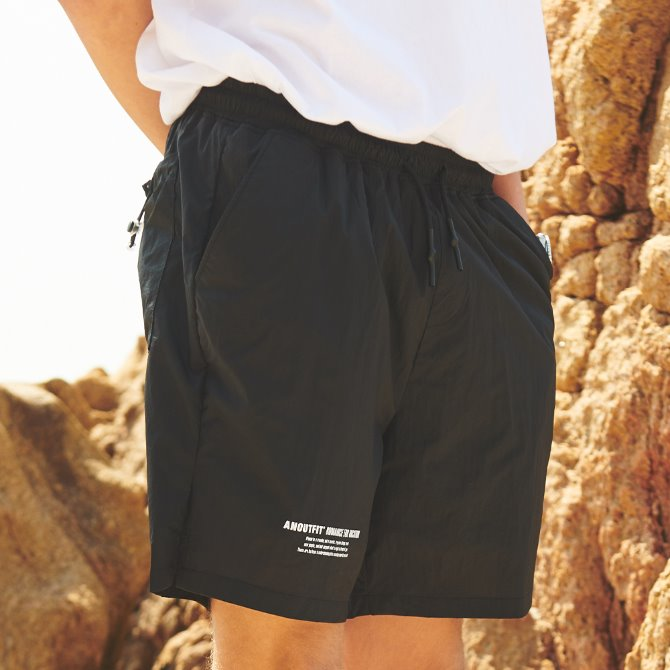 UNISEX MONO STRING SHORT PANTS BLACK