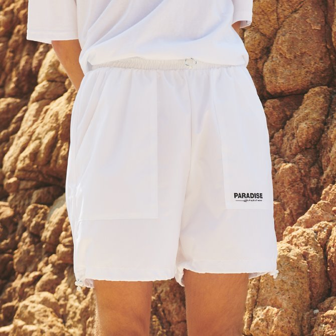 UNISEX RIP STRING SHORT PANTS WHITE