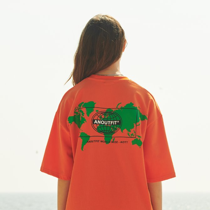 UNISEX OVERFIT EARTH ARTWORK TEE ORANGE