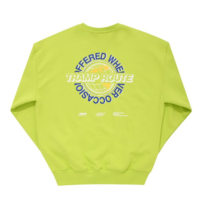 UNISEX WORLD GLOBE HEAVY SWEATSHIRT YELLOW GREEN