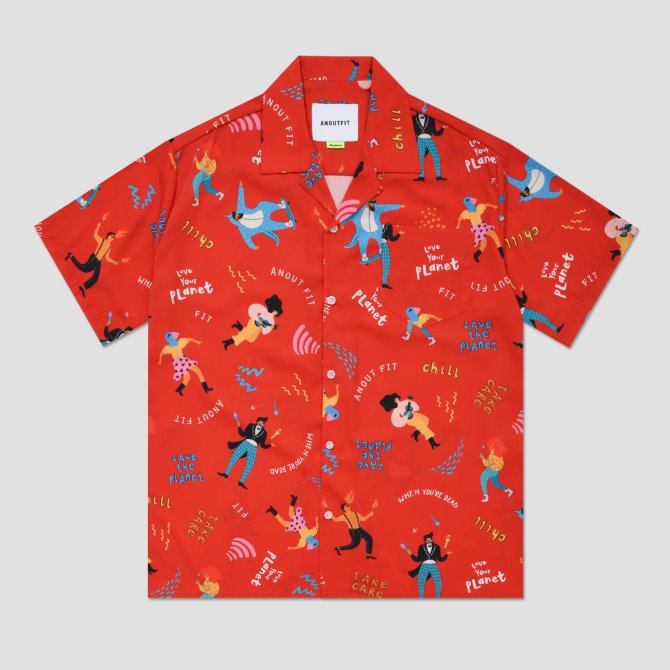 UNISEX CIRCUS HAWAIIAN SHIRTS RED