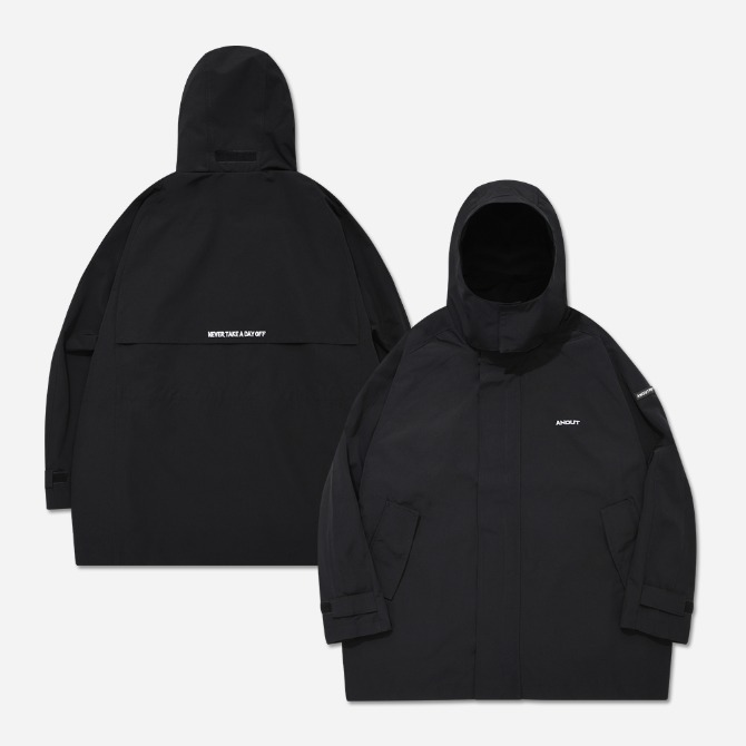 UNISEX OVERFIT BACK WING WINDBREAKER V2 BLACK